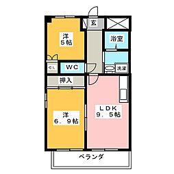 アーバンコア南浜田[1階]の間取り