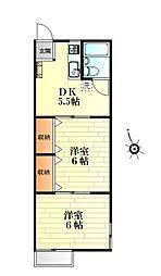 緒明山ハイツ[102号室]の間取り
