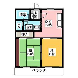 マンションリビエールIII[3階]の間取り