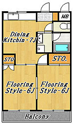 市川第3マンション[5階]の間取り