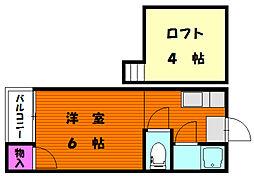 新日本パレス香椎駅東[2階]の間取り