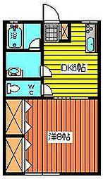 ドリームハウスII[2K号室]の間取り