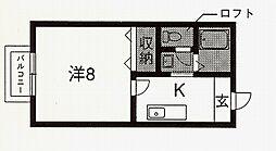 セジュール西村[206号室号室]の間取り