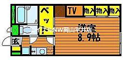 JR赤穂線 長船駅 徒歩4分の賃貸アパート 2階1Kの間取り