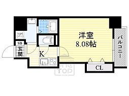 ドゥエリングASAHI 7階1Kの間取り