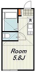 JR東海道本線 戸塚駅 徒歩13分の賃貸アパート 2階ワンルームの間取り