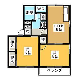 コーポM[2階]の間取り