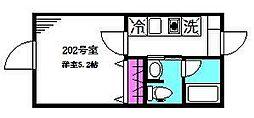 フェリーチェ阿佐ヶ谷L 2階1Kの間取り