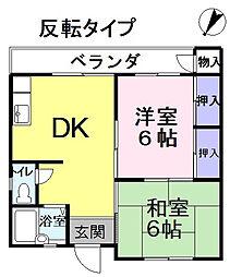 門之内マンション3号棟 206号[3階]の間取り