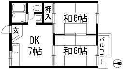 兵庫県川西市平野2丁目の賃貸アパートの間取り