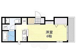 東急田園都市線 池尻大橋駅 徒歩8分の賃貸マンション 2階ワンルームの間取り