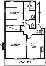 コンフォール石坂[B202号室]の間取り