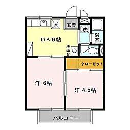 コーポ加茂川ー北[2階]の間取り