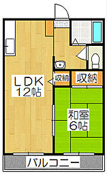 京都府京都市山科区御陵天徳町の賃貸アパートの間取り