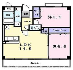 大阪府交野市藤が尾5丁目の賃貸マンションの間取り