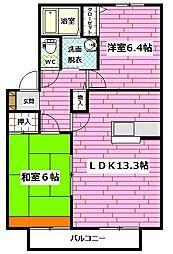 広島県広島市安佐南区緑井3丁目の賃貸アパートの間取り