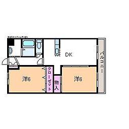 真岡鐵道 多田羅駅 3.5kmの賃貸マンション 3階2LDKの間取り