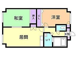南幌アラビス 3階2DKの間取り