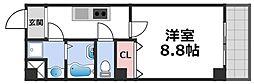 KSロイヤル大阪城 4階1Kの間取り