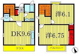[テラスハウス] 千葉県松戸市西馬橋1丁目 の賃貸【/】の間取り