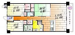 ライオンズマンション千里丘ガーデンシティ[10階]の間取り