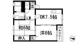 兵庫県宝塚市宮の町の賃貸アパートの間取り