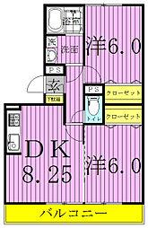 ラフォーレ上ノ台B[3階]の間取り