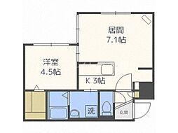 グランメール澄川駅南 2階1LDKの間取り