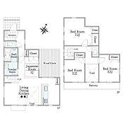 建物プラン例(B号棟―参考プラン―)4LDK、土地価格2430万円、土地面積141.17m2、建物価格1755万円、建物面積89.26m2