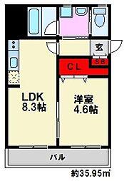 J-PLACE大橋南[8階]の間取り