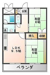 宏栄ハイツ[3階]の間取り