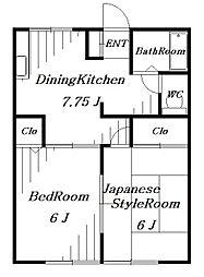 リーフ米倉[1階]の間取り
