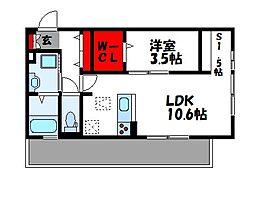 D-room Reiwa 2階1LDKの間取り