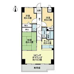 スカール喜多川A棟[1階]の間取り