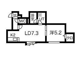 NOON豊平 3階1DKの間取り