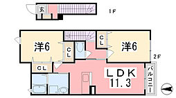 兵庫県姫路市余部区下余部の賃貸アパートの間取り
