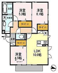 埼玉県三郷市中央1丁目の賃貸アパートの間取り