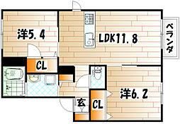 リバプールⅡ番館[1階]の間取り
