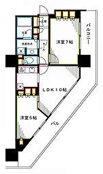JR総武線 東中野駅 徒歩1分の賃貸マンション 7階2LDKの間取り