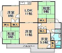 兵庫県伊丹市行基町2丁目の賃貸マンションの間取り