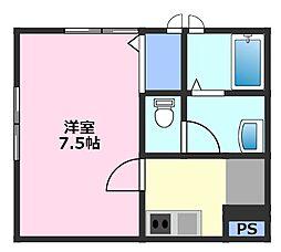 TYC東松山 1階1Kの間取り