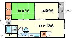 桃山台コーポラス[6階]の間取り