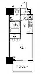 都営浅草線 東銀座駅 徒歩5分の賃貸マンション 8階1Kの間取り