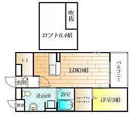 大阪府羽曳野市南恵我之荘6丁目の賃貸アパートの間取り
