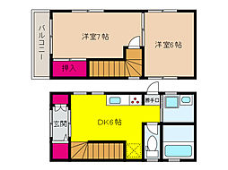 阪急神戸本線 王子公園駅 徒歩10分の賃貸一戸建て 2階2DKの間取り