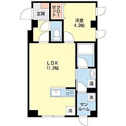 新潟県新潟市中央区東堀前通2番町の賃貸マンションの間取り