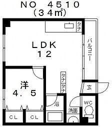 大阪府大阪市天王寺区勝山4丁目の賃貸マンションの間取り