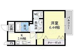 Fstyle田井城1号館 2階1Kの間取り