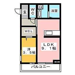 エスペランサ21 2階1LDKの間取り