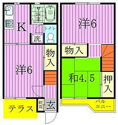 [タウンハウス] 千葉県松戸市西馬橋4丁目 の賃貸【千葉県 / 松戸市】の間取り